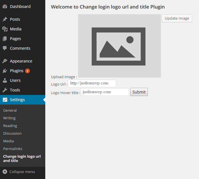 Change login logo url and title Plugin settings