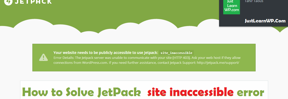 Your website needs to be publicly accessible to use Jetpack site_inaccessible