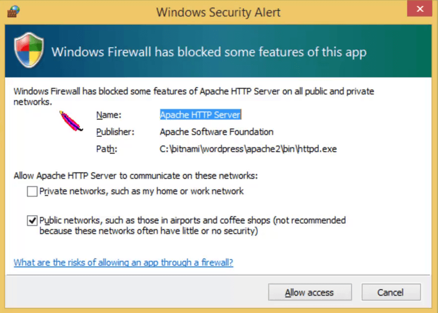 How To Install WordPress On Windows 8 Using Bitnami Windows firewall has bloacked some services Apache-HTTP-Server