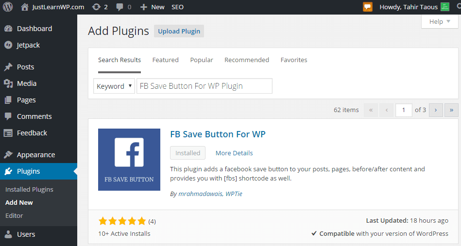 FB Save Button For WP installation