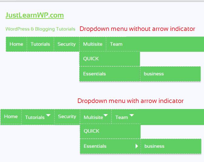 how to add arrow in wordpress menu