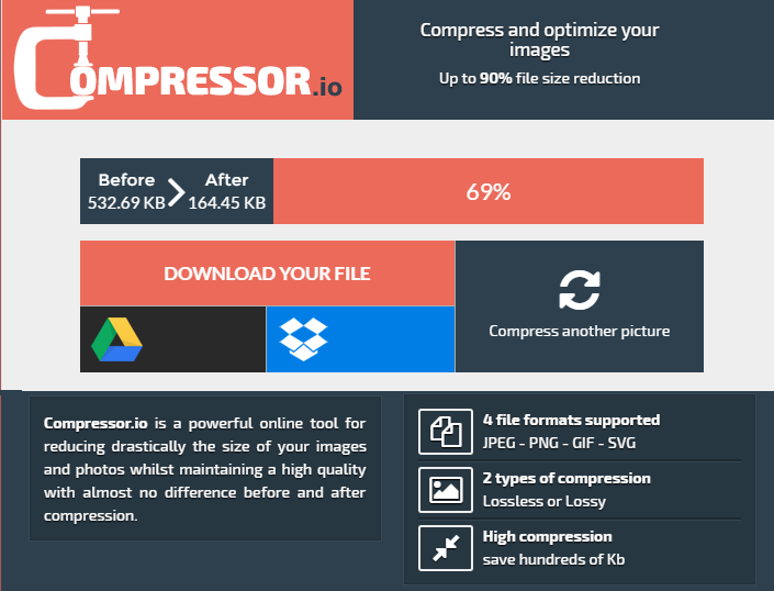 Compressor.io free image optimizationcompression service