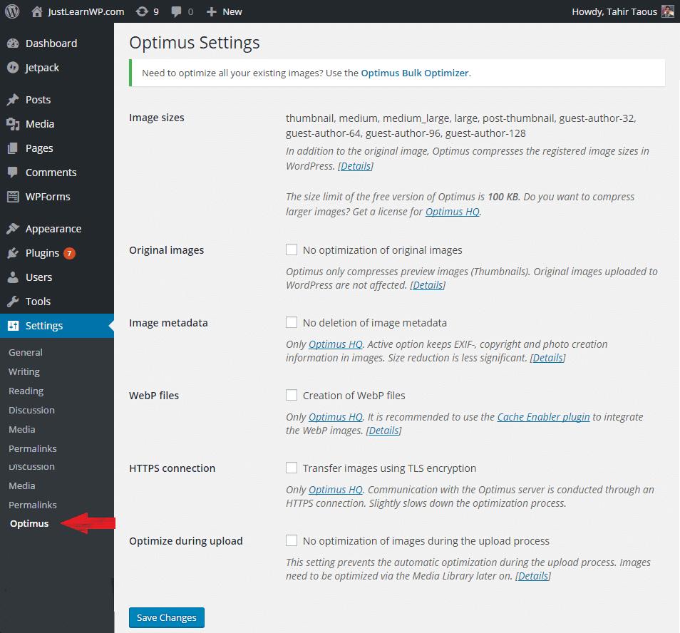 Optimus WordPress Image Optimization Plugin Review  - Settings