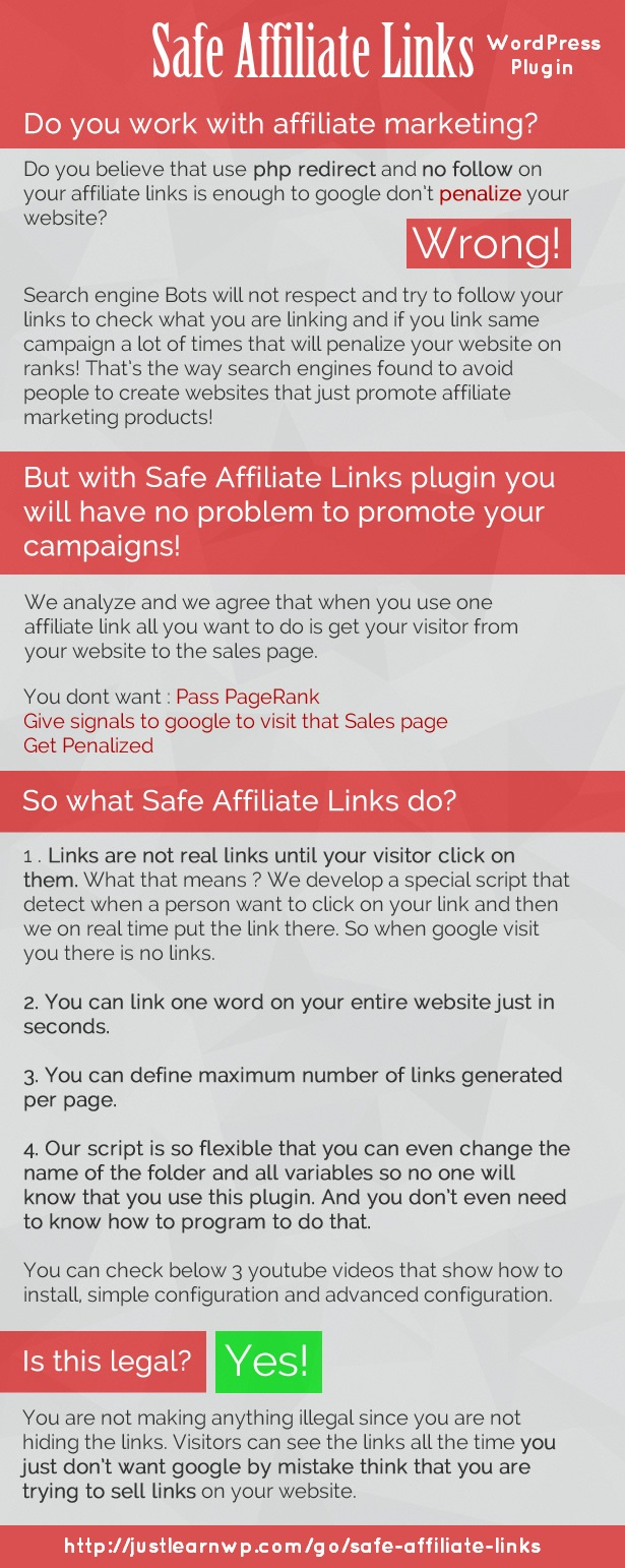 Safe Affiliate Links Premium WordPress Affiliate Link Cloaking Plugin