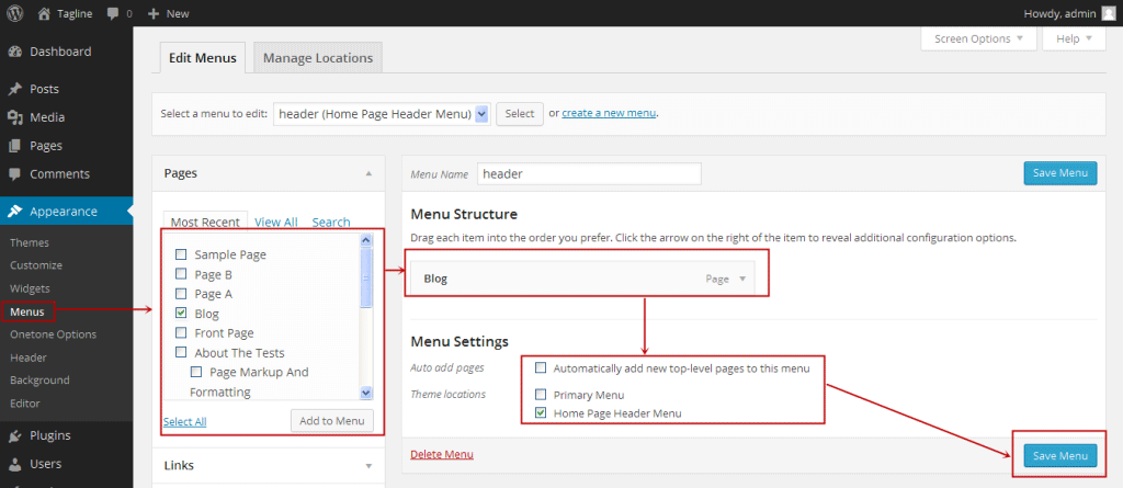 Creating aWordPress  Navigation Menu