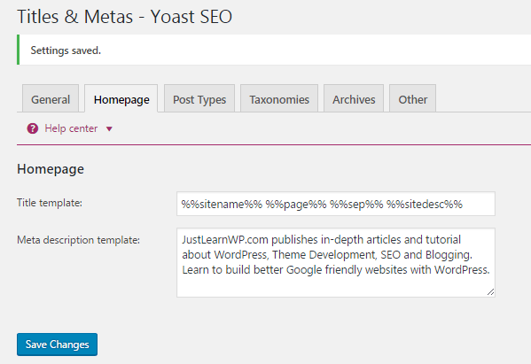 WordPress Homepage Meta Description- Yoast SEO
