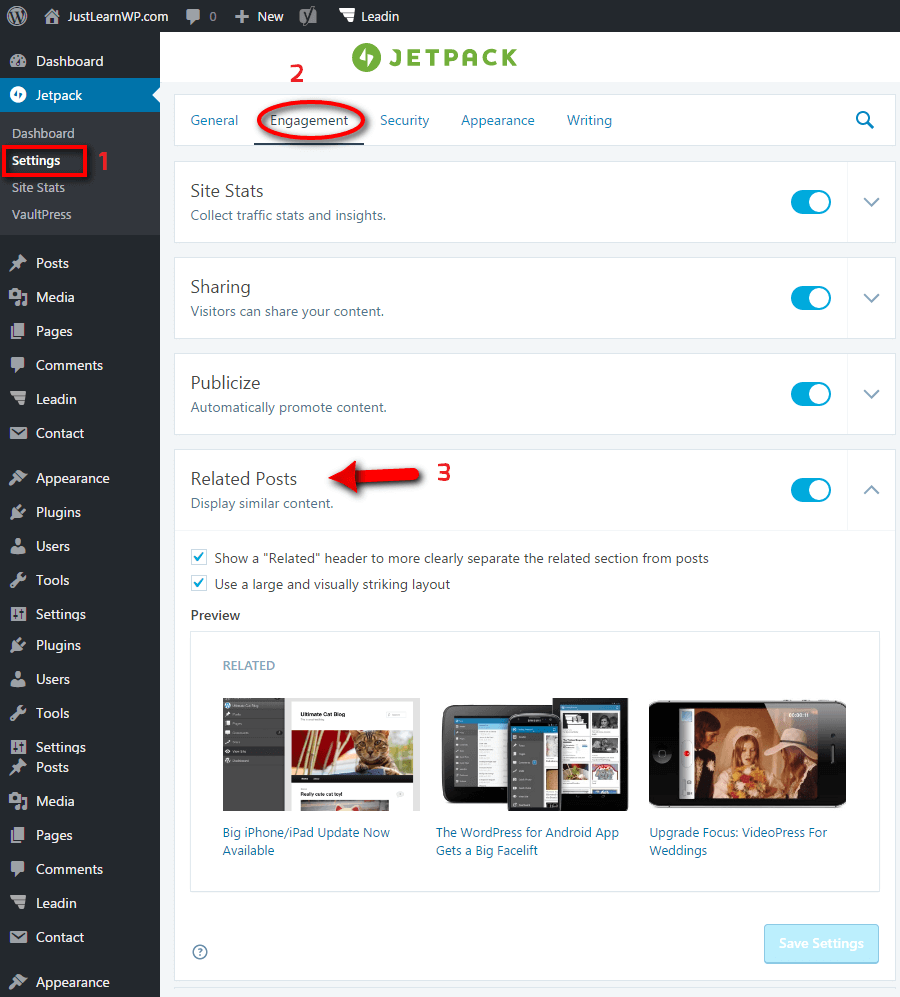 WordPress Related Posts Jetpack