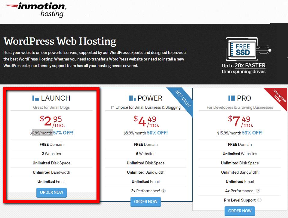 cheap wordpress hosting by inmotionhosting