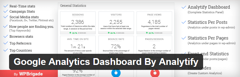 Google Analytics Dashboard By Analytify-WordPress Plugins