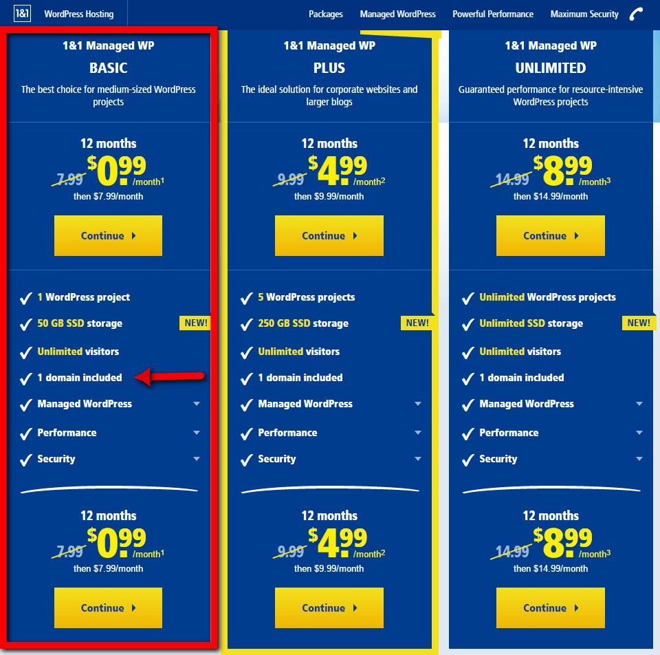Buy cheap wordpress hosting from 1&1.com