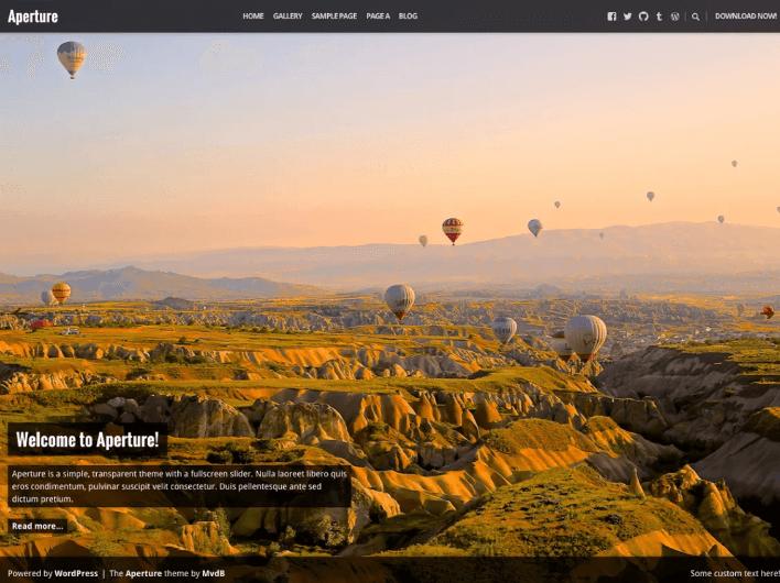 Aperture photography wordpress theme
