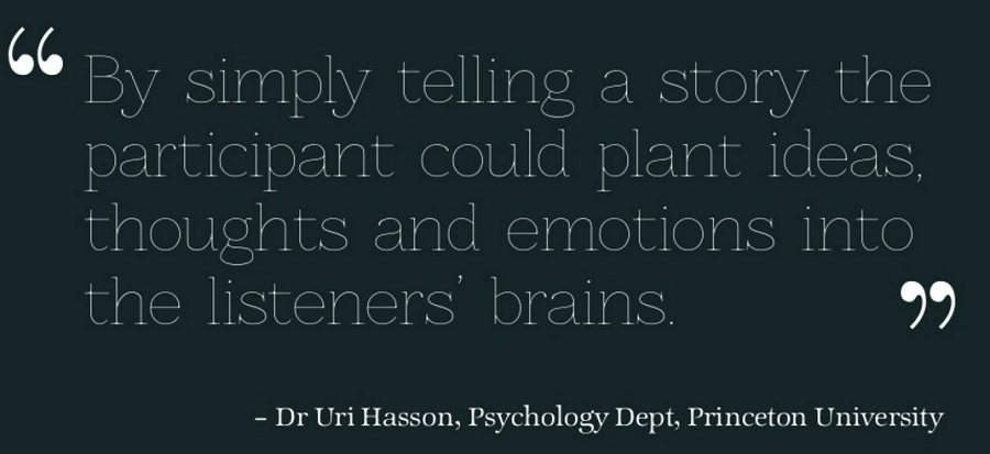 by simple telling a story the participnt could plant ideas, thoughts and emotions into the listeners' brains. Dr Uri Hasson - brand-story-telling-quote
