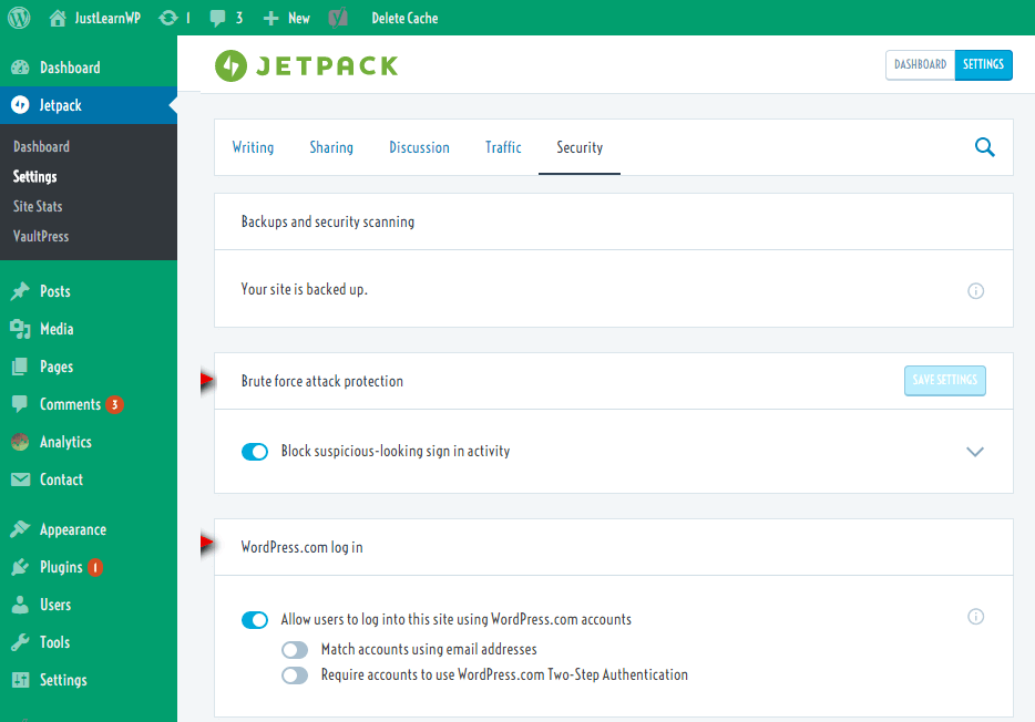 Jetpack WordPress brute force protection