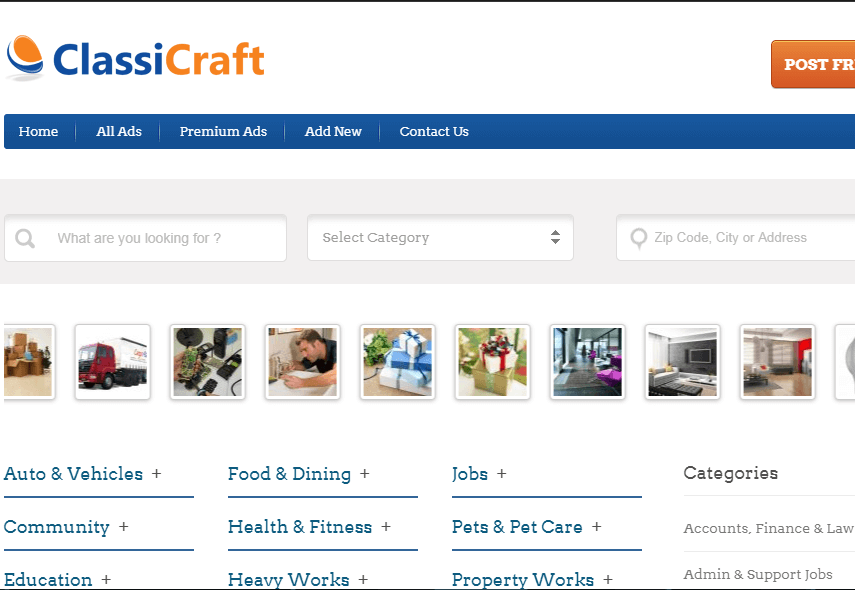 ClassiCraft - Classified Ad WordPress Theme