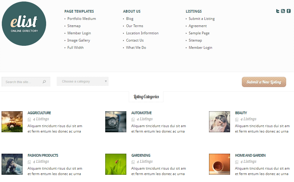 eList classified WordPress theme