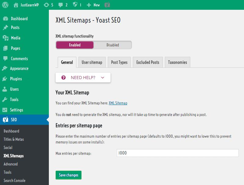 yoast SEO WordPress xml sitemaps