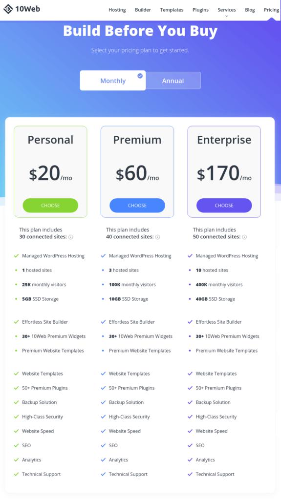 10Web Managed WordPress Hosting Plans & Pricing