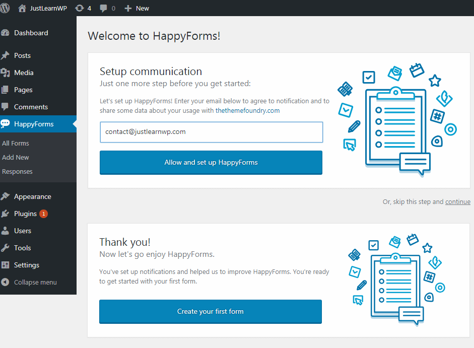 happyforms welcome screen