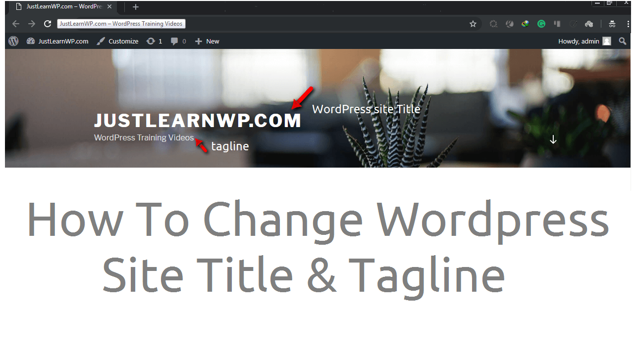 How To Change Update WordPress Site Title And Tagline
