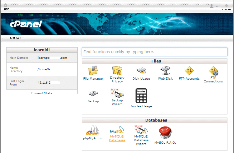 cPanel - Main Page