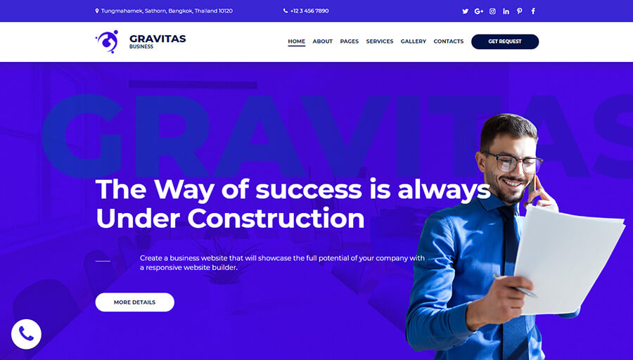 Gravitas 7-in-1 WordPress Theme (+Elementor Builder)