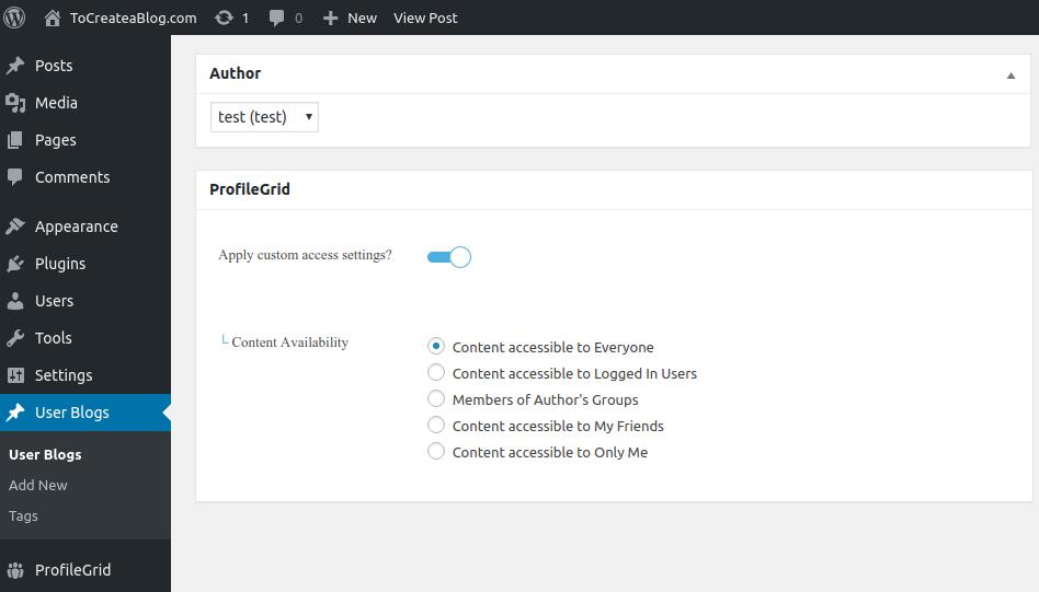 Content Availability profileGrid
