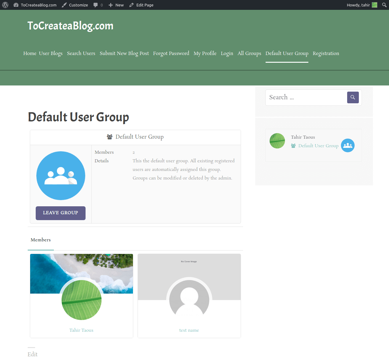 Default User Group page ProfileGrid