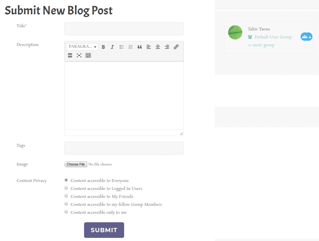 Submit New Blog Post with Profile Grid