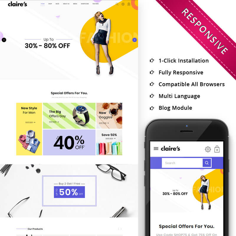 Claires – The Fashion Store Responsive WooCommerce Theme