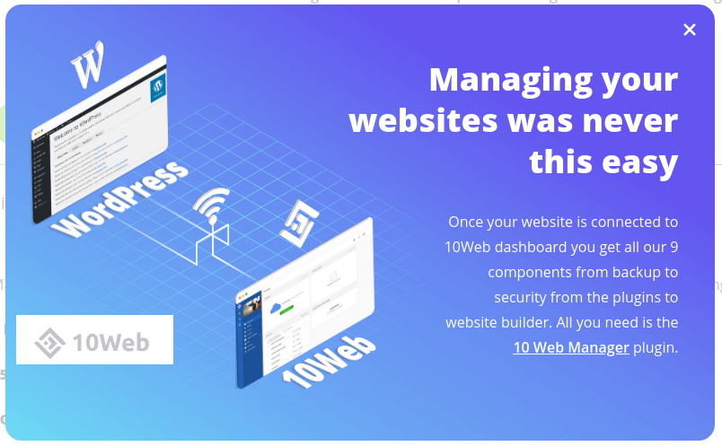 Easily connect and manage multiple WordPress website with 10web