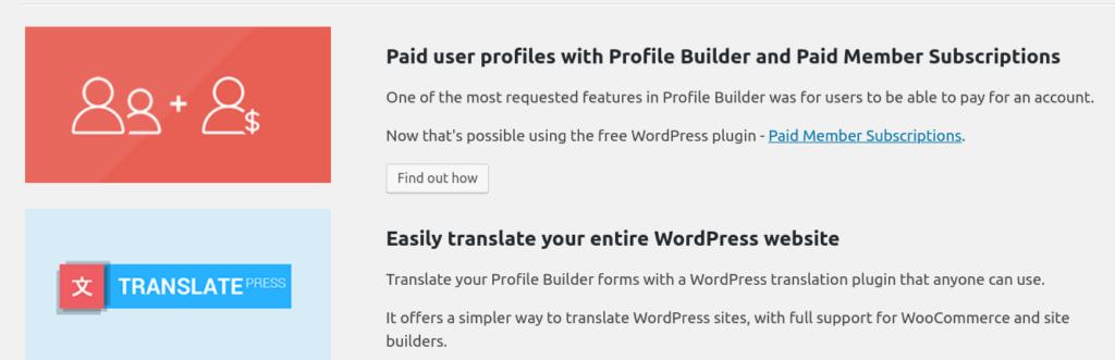 Paid members and translatepress plugins