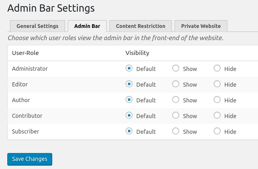 Profile Builder Pro Admin bar Settings page