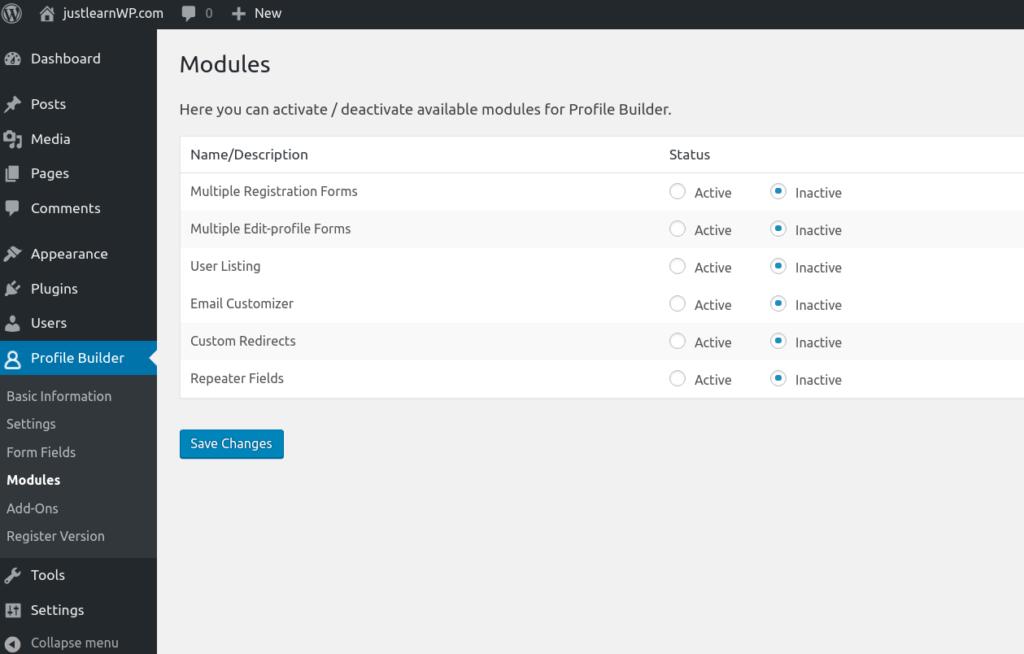 WordPress Profile Builder Pro modules