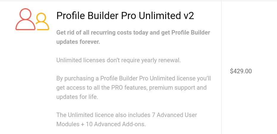 WordPress Profile Builder Pro unlimited plan