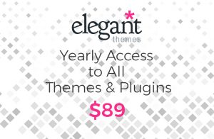 Yearly access to all 80+ theme's and plugins for $89 only with ElegantThemes