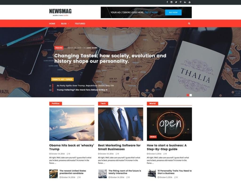 Nesmag bootstrap WordPress theme