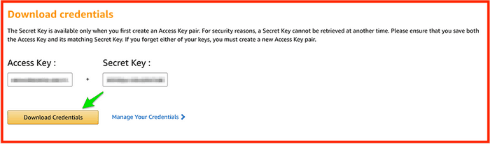Add the API key and API secret key into the input fields.