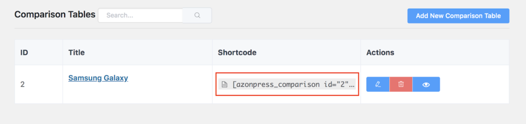 AzonPress Comparison table shortcodes WordPress