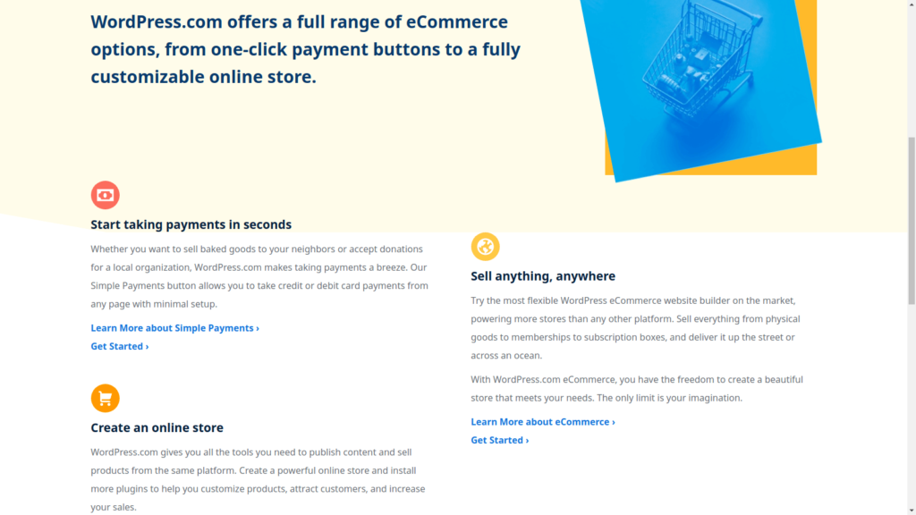 WordPress.com ecommerce website hosting