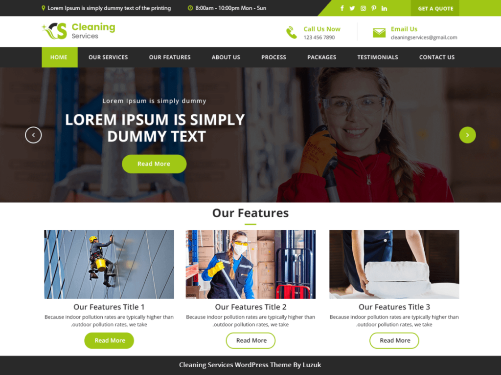 LZ Cleaning Company free theme for WordPress