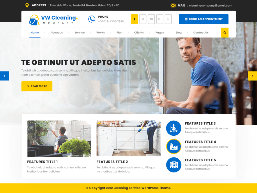 VW Cleaning Company theme for WordPress