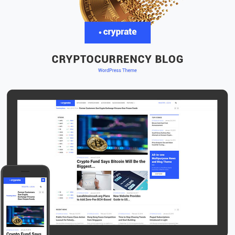 Cryprate - Cryptocurrency Blog Elementor WordPress Theme