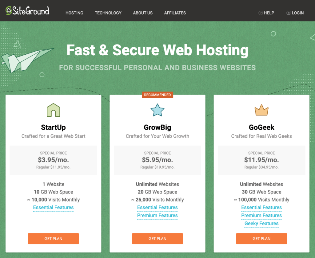 Siteground Shared and Managed WordPress Hosting